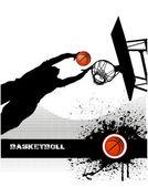 Basketball match on grunge background — Vector de stock