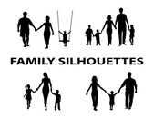 Silhouette of family group — Stock Vector