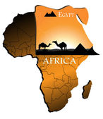 Egypt on the map of Africa — Stock Vector