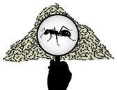 муравей под увеличительным стеклом — Cтоковый вектор