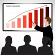 Business man holds presentation — Stock Vector