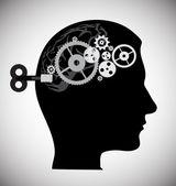 Menselijk hoofd met versnellingen — Stockvector