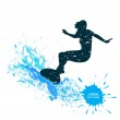 Silhouette of a surfer in grunge style splashes — Stock Vector