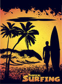 Silhouette of a surfer on a tropical beach — Stock Vector