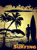 Silhouette of a surfer on a tropical beach — Stockvector