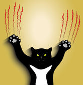 Silhouette of a cat scratching background — Stockvektor