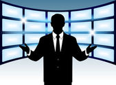 Silhouette man on background of the monitors — Stock Vector