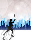 Running person with a torch — Stock Vector