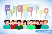 People icons on a background of the planet symbolizes social network — Stockvector