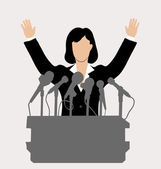Woman politician in front of a microphone — Stock Vector