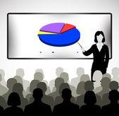 Parlando davanti ad un pubblico di persone — Vettoriale Stock