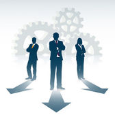 Silhouette of businesspeople on gears background — Vecteur