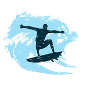 Silhouette of a surfer — Vector de stock