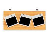 Photo album presented on a wooden board — Stock Vector