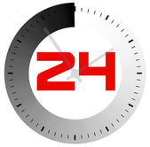 24 hours per day symbol — Vettoriale Stock