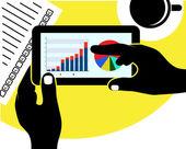 Tablet with the economic schedule in hands — Stock Vector