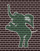 Drawing of an elephant on a brick wall — Stock Vector