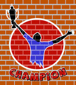 Drawing of the champion on a brick wall — Stock Vector