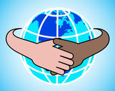 Hands round the globe are symbolized by unity — Stock Vector