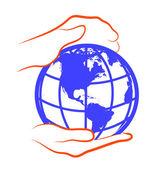 手拿全球 — 图库矢量图片
