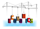 The cranes hoist the word economics — Stock Vector
