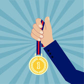 Hand with a medal  flat style — Stock Vector