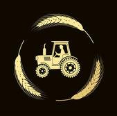 Трактор в ушах хлеб — Cтоковый вектор