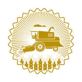 Icon combine harvester of wheat ears — Stock Vector