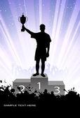 Silhueta do campeão num pedestal — Vetor de Stock