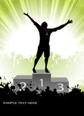 Silhouette of the champion on a pedestal — Stock Vector