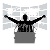 Silhouette of the person among public — Stock Vector