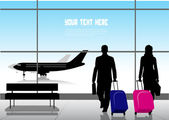 Silhouette people in an airport — Stock Vector