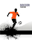 Silhouette of soccer player — Stock Vector
