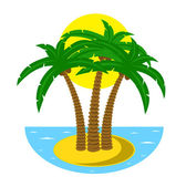 Tropical island at the ocean — Stock Vector