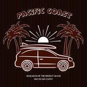 Old label summer surfing on Hawaii — Stok Vektör
