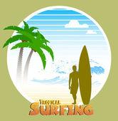 Hawaiian surfing label — Stock Vector