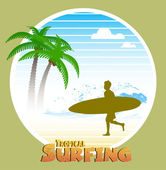 Havajské surfování popisek — Stock vektor