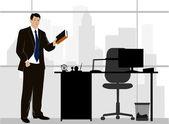 Businessman in office — Stock Vector