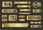 Goldene etiketten und farbbänder — Stockvektor