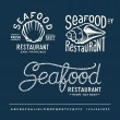 Vintage seafood restaurant layout with handwritten alphabet — Vector de stock