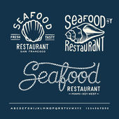Vintage seafood restaurant layout with handwritten alphabet — Stock Vector