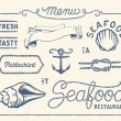 Vintage seafood restaurant collection — Stock Vector #43707789