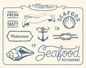 Vintage seafood restaurant collection — Stock Vector