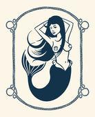 Winking mermaid illustration — Stock Vector