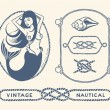 Vintage nautical set — Stock Vector