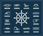 Nautical rope knots set — Stock Vector