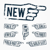 Vector set: pointing hand rubber stamps: new, sale, free, sold out — Stock Vector