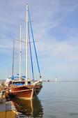 Sailboat on the dock. — Stock Photo