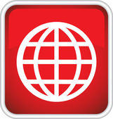 The red icon with globe. — Stock Vector