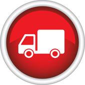 Czerwona ikona z ciężarówką — Wektor stockowy
